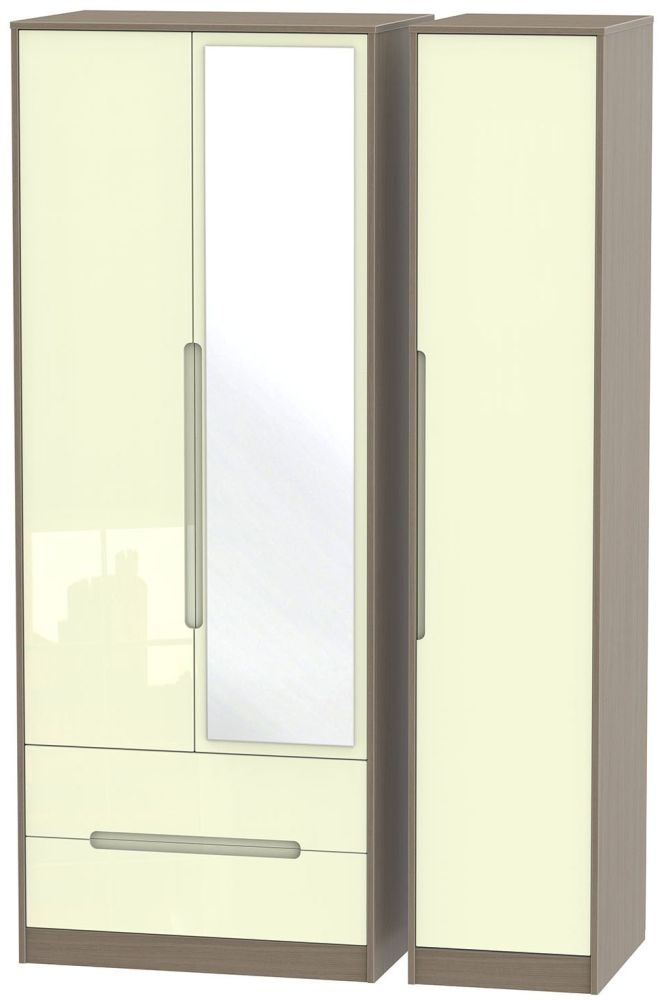 Monaco High Gloss Cream and Toronto Walnut Triple Wardrobe - Tall with 2 Drawer and Mirror