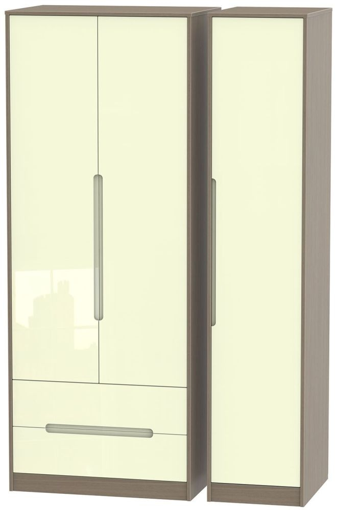 Monaco High Gloss Cream and Toronto Walnut Triple Wardrobe - Tall with 2 Drawer