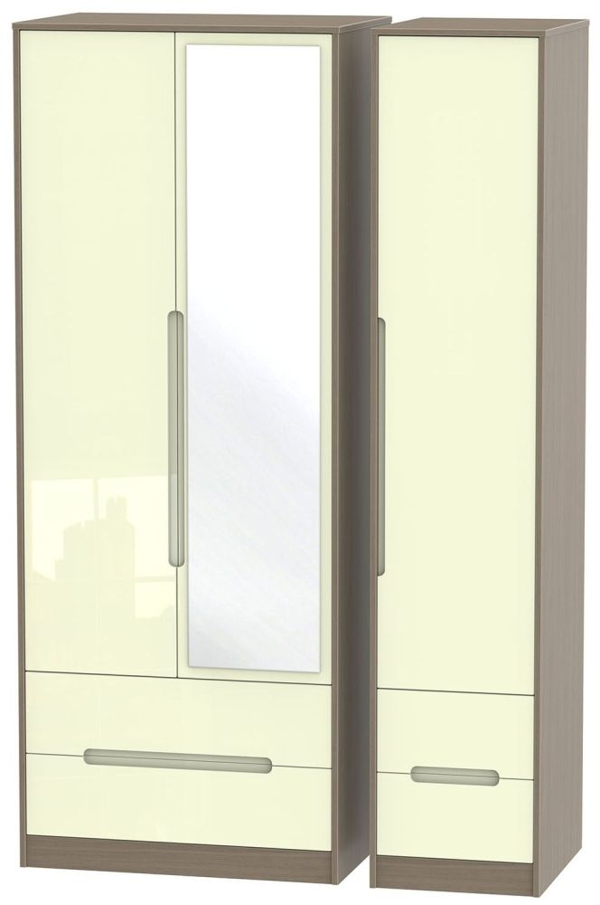 Monaco High Gloss Cream and Toronto Walnut Triple Wardrobe - Tall with Drawer and Mirror