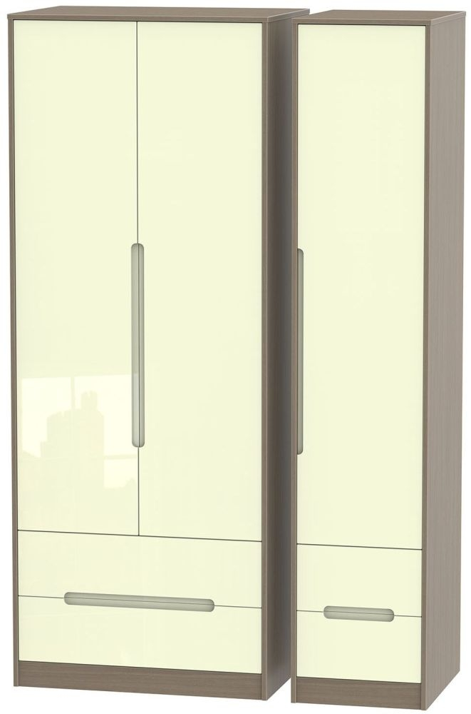 Monaco High Gloss Cream and Toronto Walnut Triple Wardrobe - Tall with Drawer