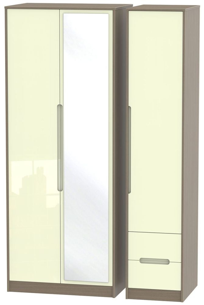Monaco High Gloss Cream and Toronto Walnut Triple Wardrobe - Tall with Mirror and 2 Drawer
