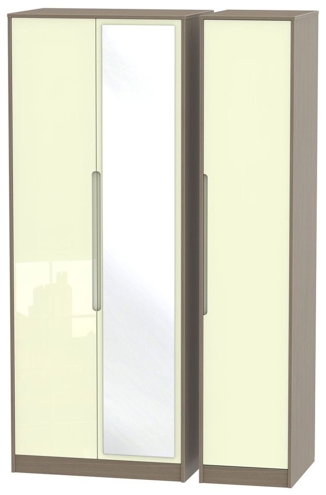 Monaco High Gloss Cream and Toronto Walnut Triple Wardrobe - Tall with Mirror