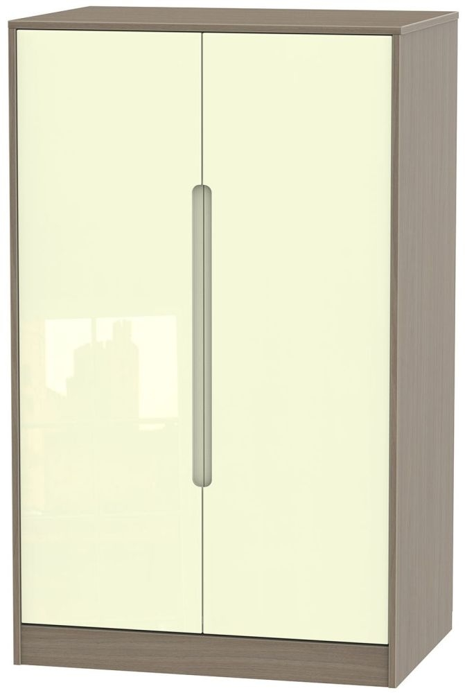 Monaco High Gloss Cream and Toronto Walnut Wardrobe - 2ft 6in Plain Midi