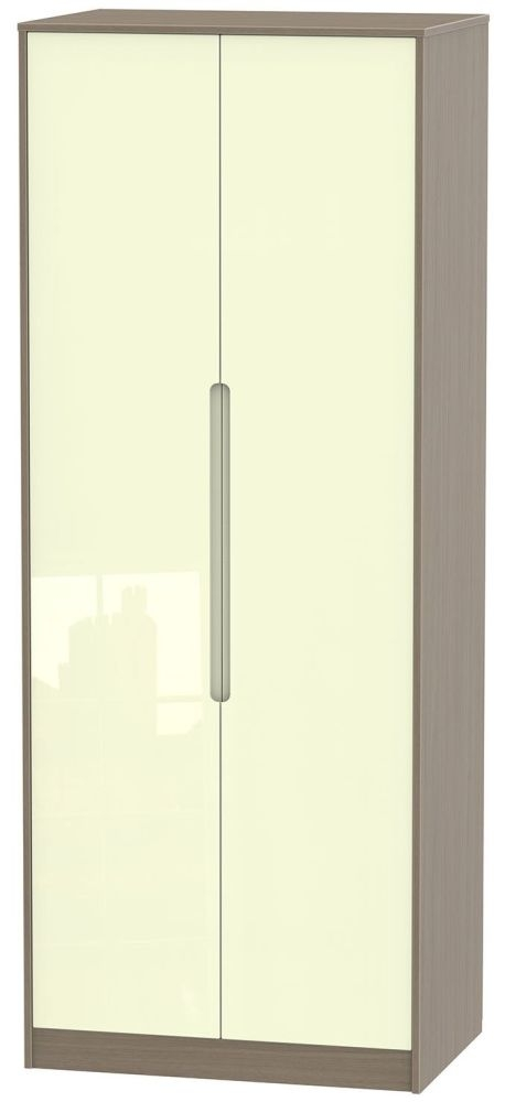 Monaco High Gloss Cream and Toronto Walnut Wardrobe - Tall 2ft 6in Plain