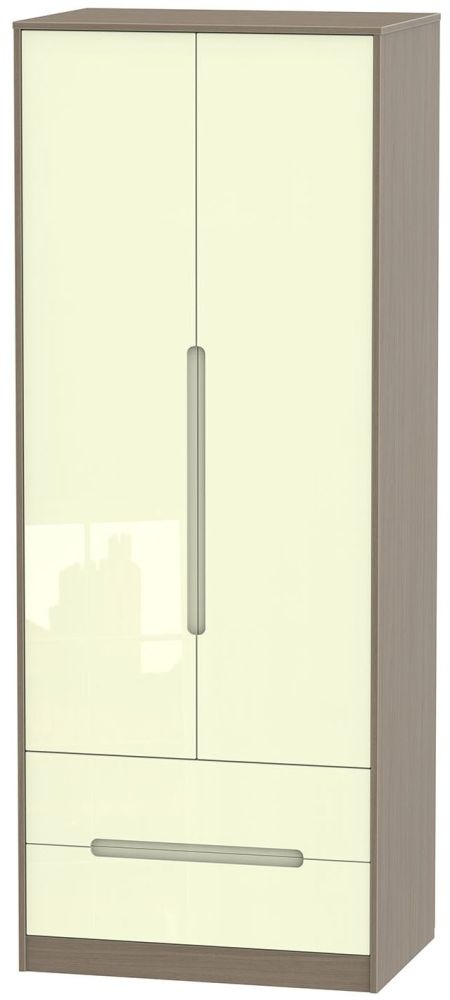 Monaco High Gloss Cream and Toronto Walnut Wardrobe - Tall 2ft 6in with 2 Drawer