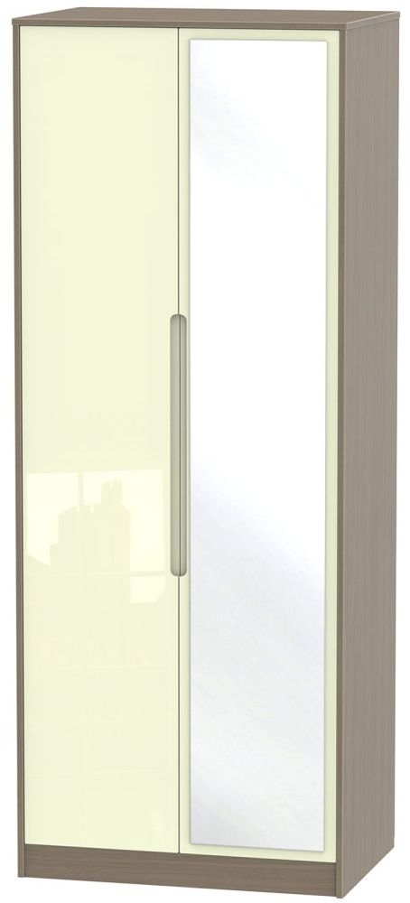 Monaco High Gloss Cream and Toronto Walnut Wardrobe - Tall 2ft 6in with Mirror