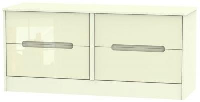 Monaco High Gloss Cream Bed Box - 4 Drawer