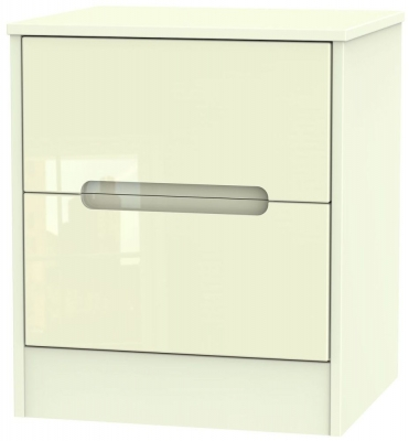 Monaco High Gloss Cream Bedside Cabinet - 2 Drawer Locker