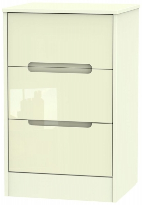 Monaco High Gloss Cream 3 Drawer Bedside Cabinet