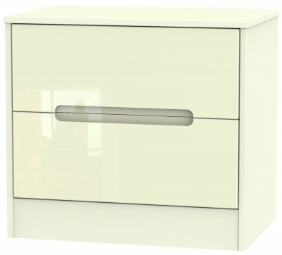 Monaco High Gloss Cream 2 Drawer Midi Chest
