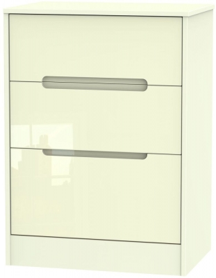Monaco High Gloss Cream Chest of Drawer - 3 Drawer Deep Midi