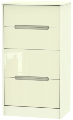 Monaco High Gloss Cream 4 Drawer Deep Midi Chest