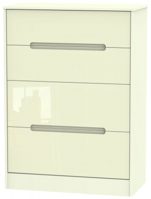 Monaco High Gloss Cream Chest of Drawer - 4 Drawer Deep