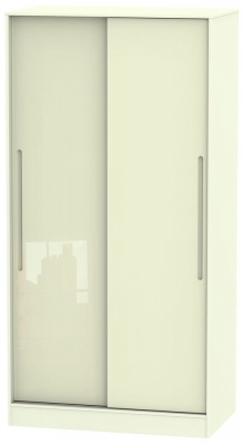Monaco High Gloss Cream 2 Door Sliding Wardrobe