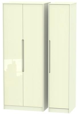 Monaco High Gloss Cream 3 Door Tall Wardrobe