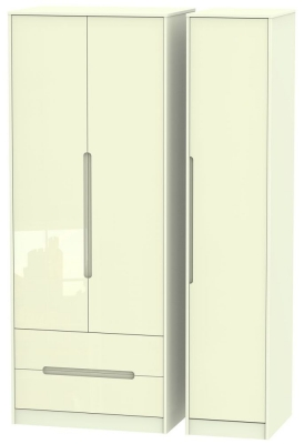 Monaco High Gloss Cream 3 Door 2 Left Drawer Tall Wardrobe