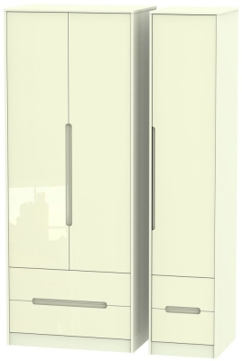 Monaco High Gloss Cream Triple Wardrobe - Tall with Drawer