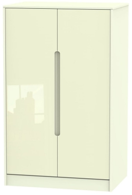 Monaco High Gloss Cream 2 Door Midi Wardrobe