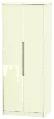 Monaco High Gloss Cream 2 Door Tall Wardrobe