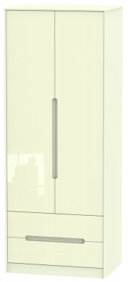 Monaco High Gloss Cream Wardrobe - Tall 2ft 6in with 2 Drawer