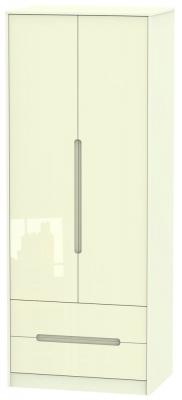 Monaco High Gloss Cream 2 Door 2 Drawer Tall Wardrobe