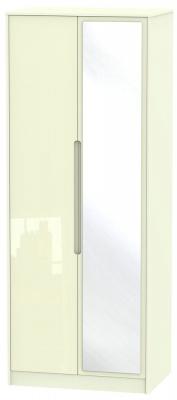 Monaco High Gloss Cream 2 Door Tall Mirror Wardrobe