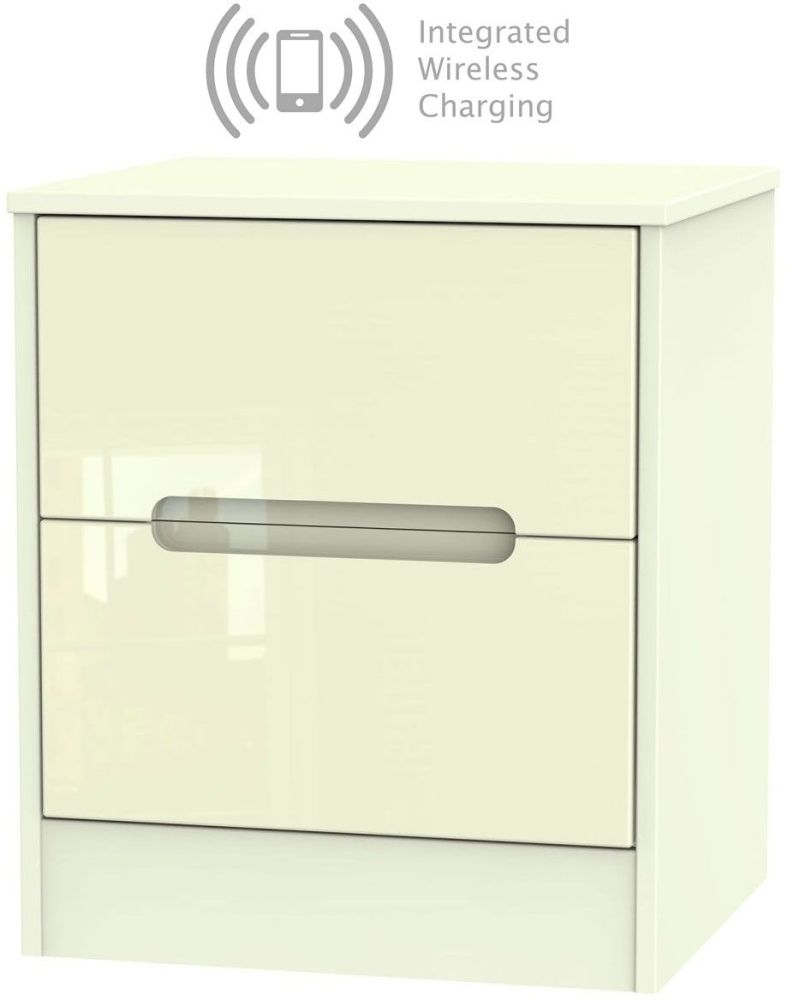 Monaco High Gloss Cream 2 Drawer Bedside Cabinet with Integrated Wireless Charging