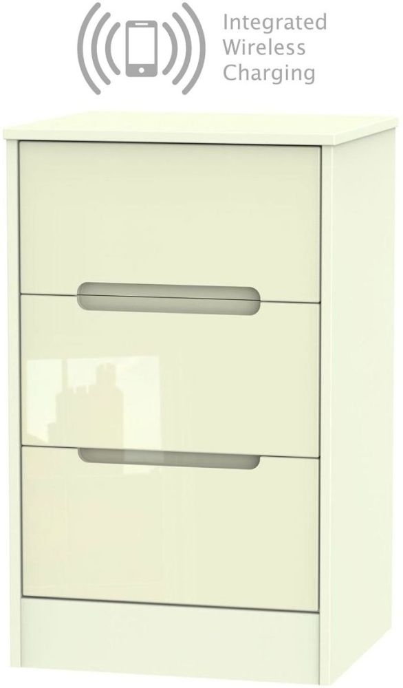 Monaco High Gloss Cream 3 Drawer Bedside Cabinet with Integrated Wireless Charging