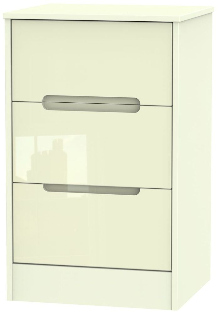 Monaco High Gloss Cream Bedside Cabinet - 3 Drawer Locker