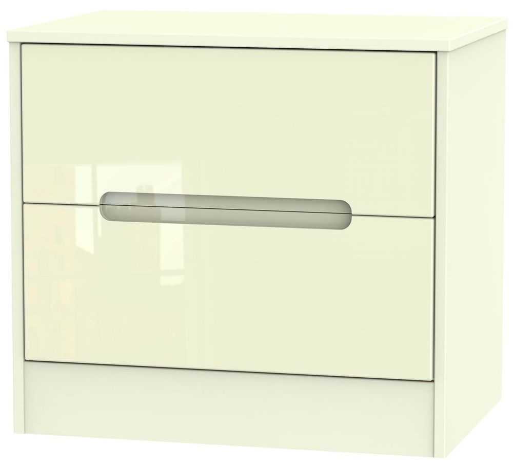 Monaco High Gloss Cream Chest of Drawer - 2 Drawer Midi