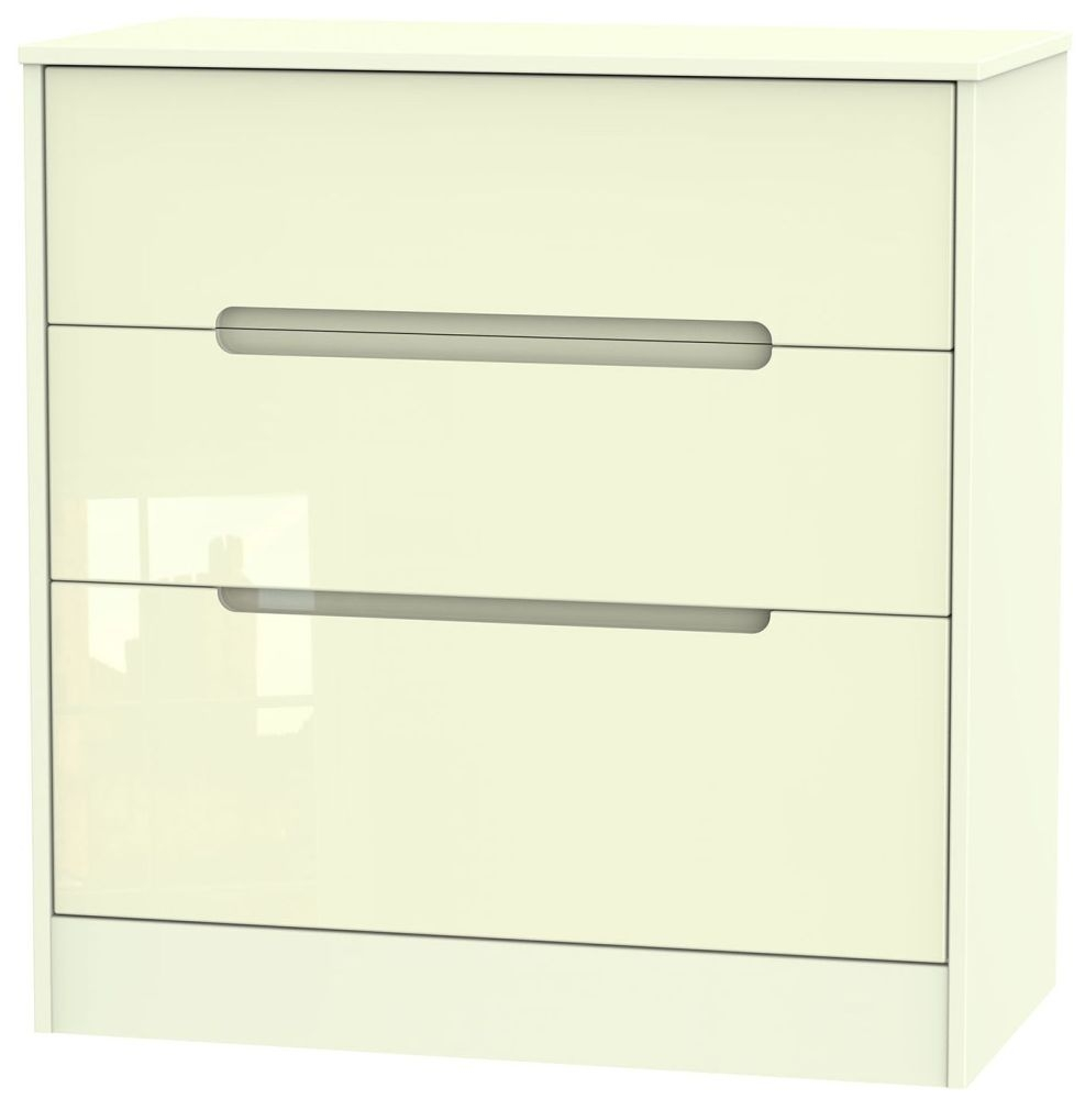Monaco High Gloss Cream Chest of Drawer - 3 Drawer Deep