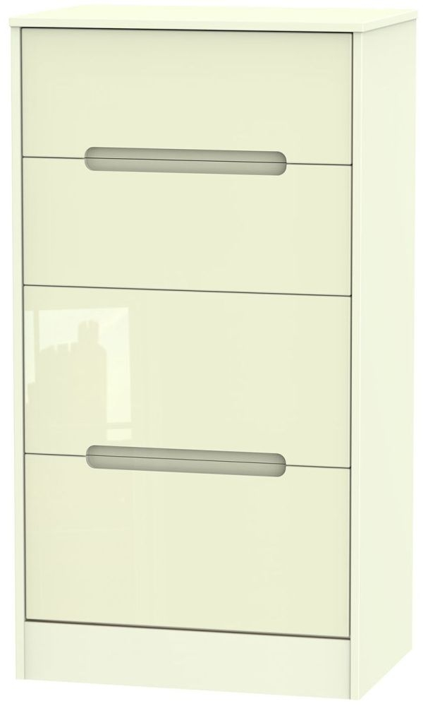 Monaco High Gloss Cream Chest of Drawer - 4 Drawer Deep Midi