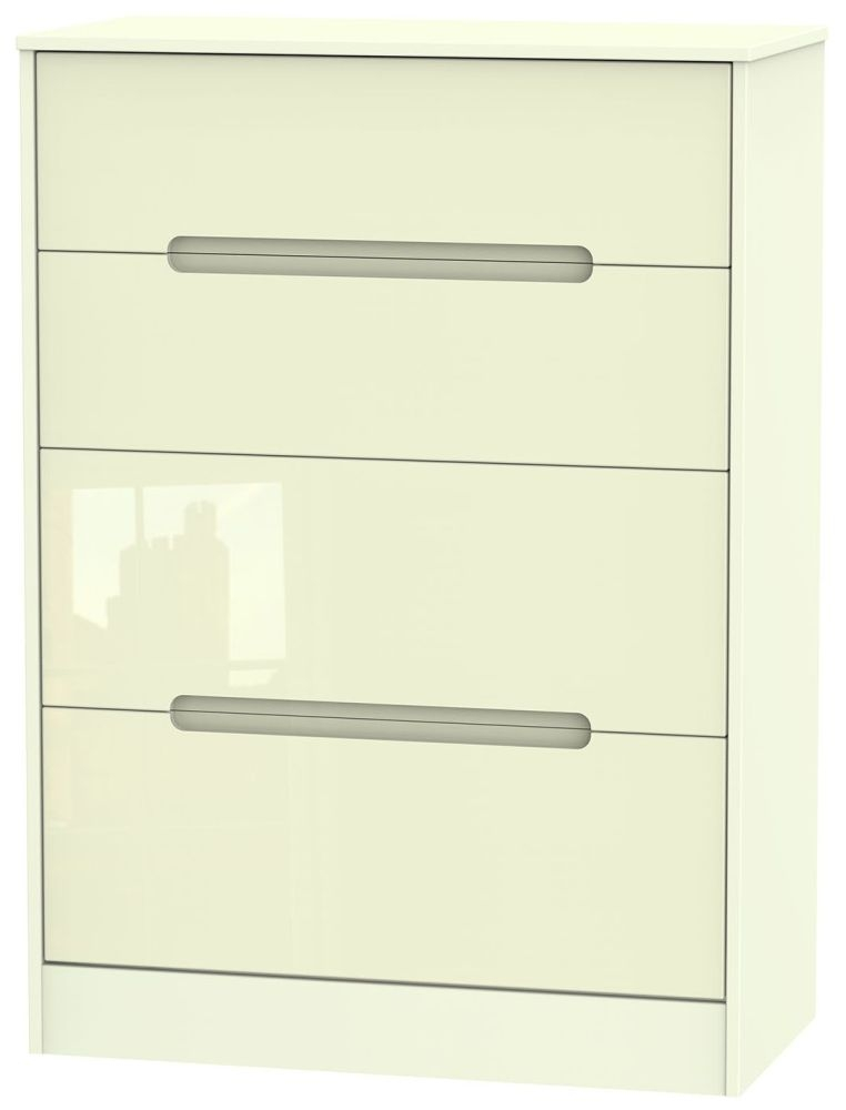 Monaco High Gloss Cream 4 Drawer Deep Chest