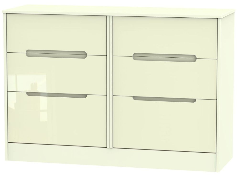 Monaco High Gloss Cream 6 Drawer Midi Chest