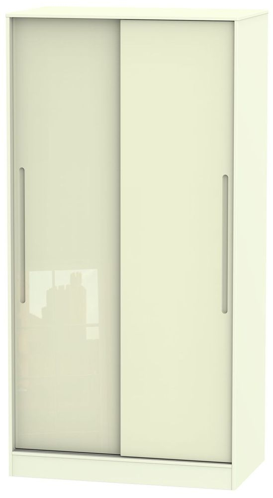 Monaco High Gloss Cream Sliding Wardrobe - Wide