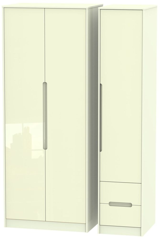 Monaco High Gloss Cream Triple Wardrobe - Tall Plain with 2 Drawer