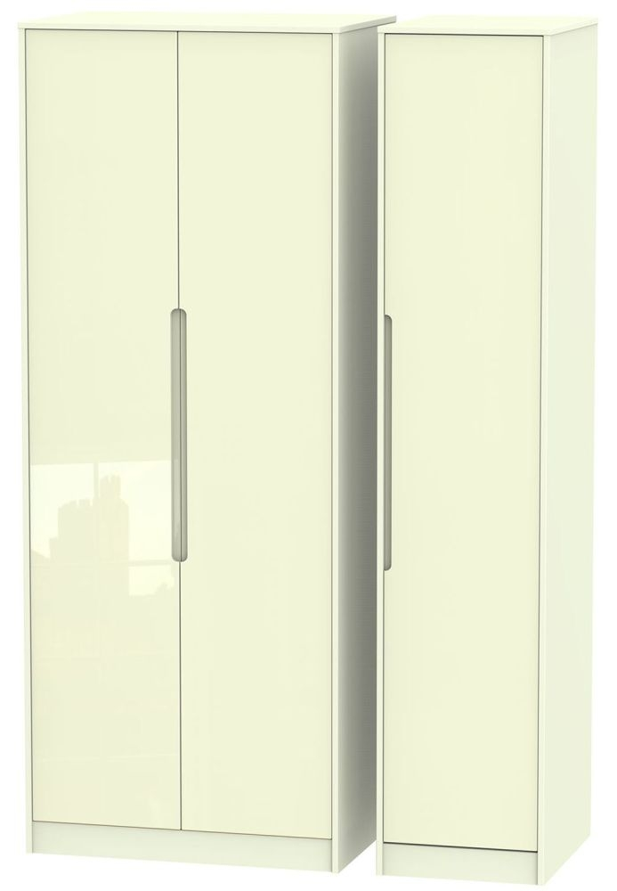 Monaco High Gloss Cream Triple Wardrobe - Tall Plain