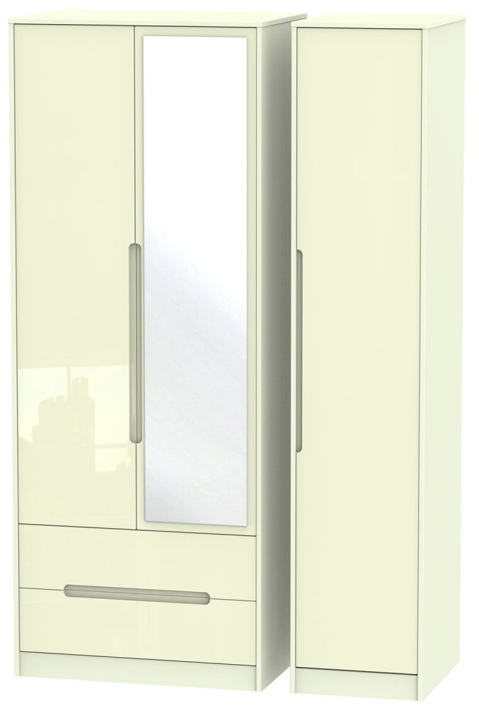 Monaco High Gloss Cream 3 Door 2 Left Drawer Tall Mirror Triple Wardrobe