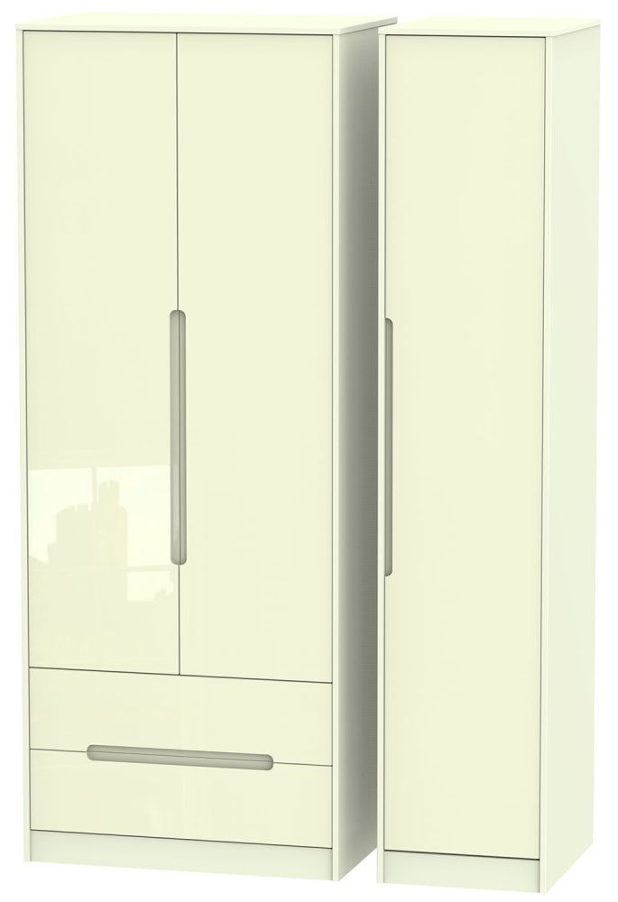 Monaco High Gloss Cream Triple Wardrobe - Tall with 2 Drawer