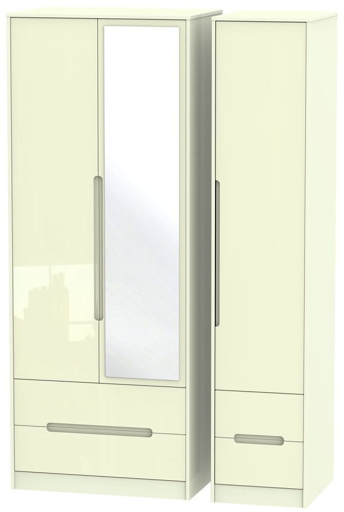 Monaco High Gloss Cream 3 Door 4 Drawer Tall Combi Wardrobe