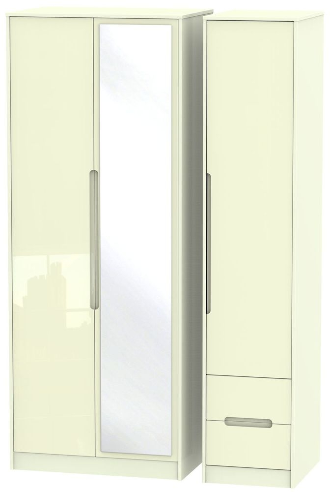 Monaco High Gloss Cream 3 Door 2 Right Drawer Tall Mirror Triple Wardrobe