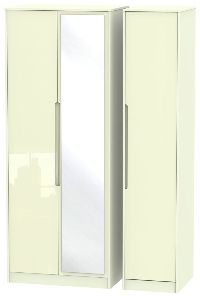 Monaco High Gloss Cream 3 Door Tall Mirror Wardrobe