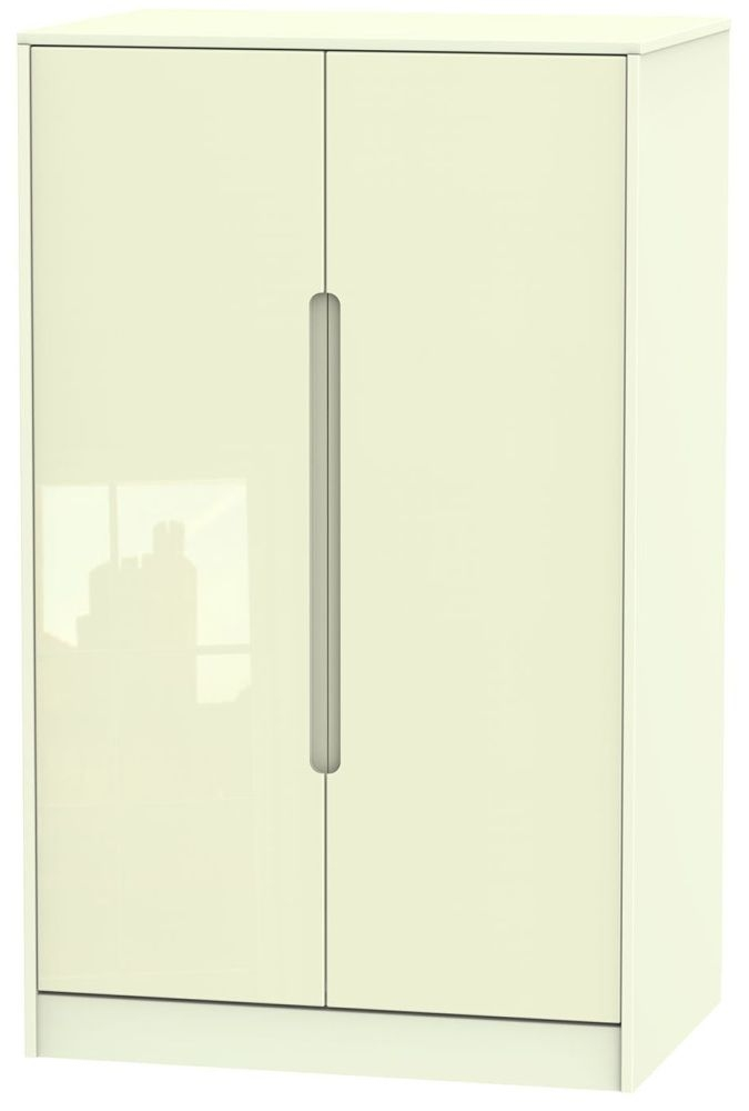 Monaco High Gloss Cream 2 Door Plain Midi Wardrobe