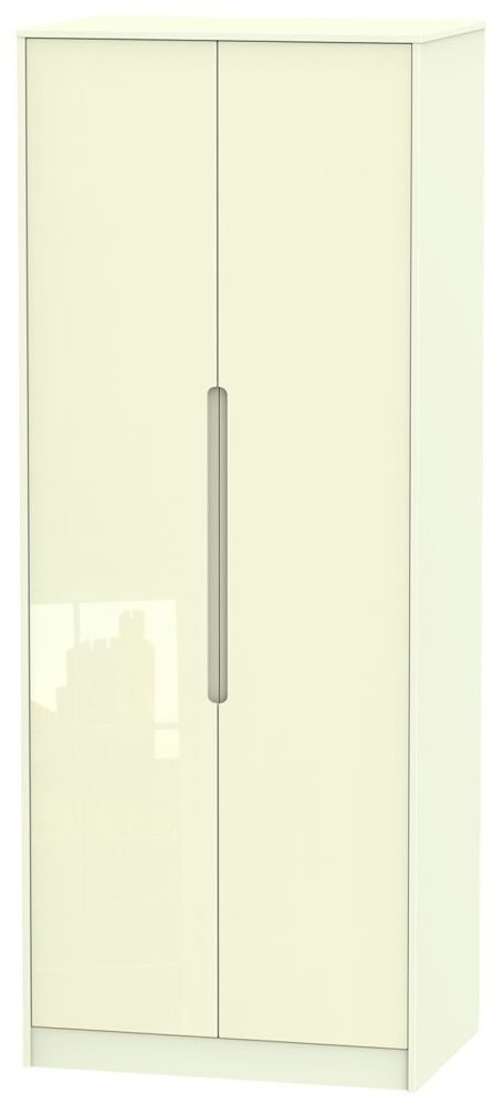 Monaco High Gloss Cream 2 Door Tall Wardrobe