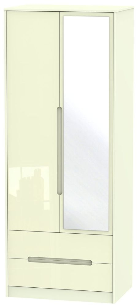 Monaco High Gloss Cream Wardrobe - Tall 2ft 6in with 2 Drawer and Mirror