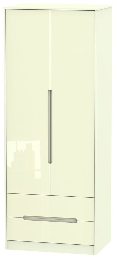 Monaco High Gloss Cream 2 Door 2 Drawer Tall Wardrobe