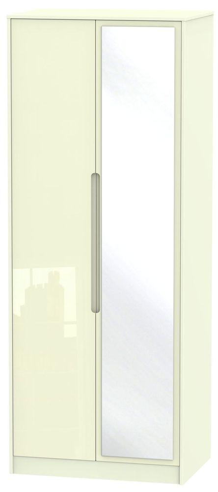 Monaco High Gloss Cream 2 Door Tall Mirror Wardrobe