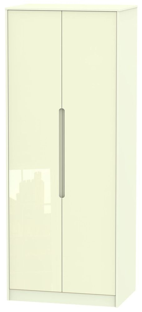 Monaco High Gloss Cream Wradrobe - Tall 2ft 6in with Double Hanging