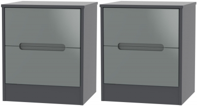 2 X Monaco High Gloss Grey and Graphite 2 Drawer Bedside Cabinet (Pair)