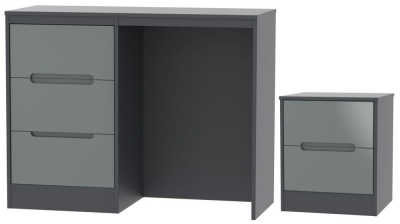Monaco High Gloss Grey and Graphite 2 Piece Bedroom Set with 2 Drawer Bedside